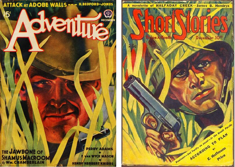 Adventure December 1939 cover by Wesley Neff vs Short Stories December 10 1943 cover by A. R. Tilburne